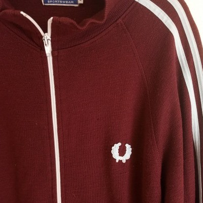 "Fred Perry Cardigan Zip Jumper Jacket Burgundy Wool (L) ""Good"""