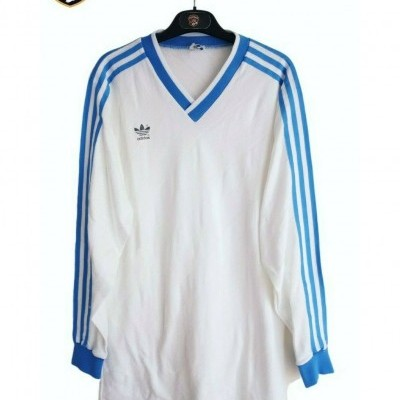 "Vintage Adidas Football Shirt White Blue 1986-1989 (L) ""Very Good"""