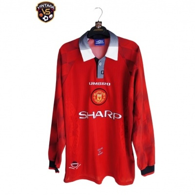 """Manchester United Home Shirt L/S 1996-1998 (L) """"Perfect"""""""