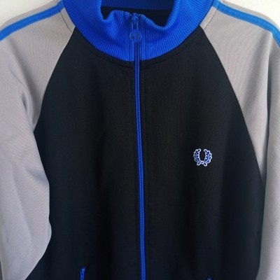 "Fred Perry Jacket Track Top Black Blue (XL Youths) ""Very Good"""