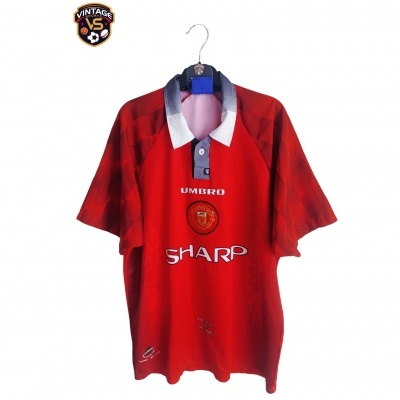 """Manchester United Home Shirt 1996-1998 #7 (L) """"Very Good"""""""