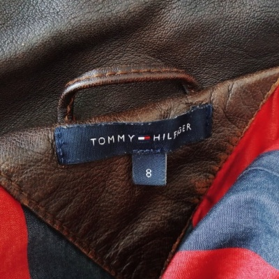 """Tommy Hilfiger Leather Jacket Brown (8 Womens) """"Good"""""""