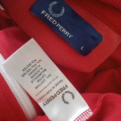 """Fred Perry Track Top Jacket Red White (L) """"Very Good"""""""