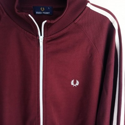 """Vintage Fred Perry Jacket Track Top Burgundy White (L) """"Good"""""""
