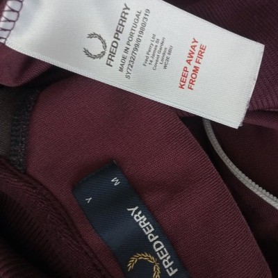 """Fred Perry Jacket Track Top Burgundy Black (M Youths) """"Very Good"""""""