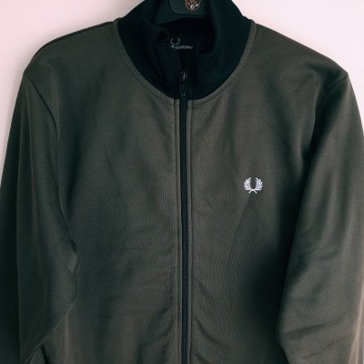 """Fred Perry Jacket Track Top Green Black (L Youths) """"Very Good"""""""