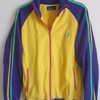"""Fred Perry Jacket Track Top Yellow Purple (M) """"Very Good"""""""