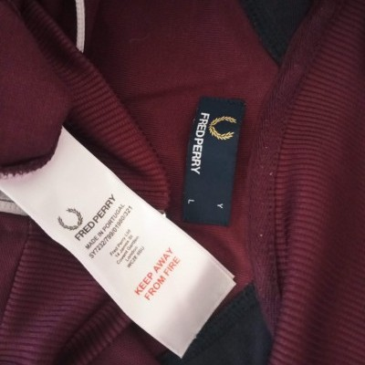 """Fred Perry Jacket Track Top Burgundy Black (L Youths) """"Very Good"""""""