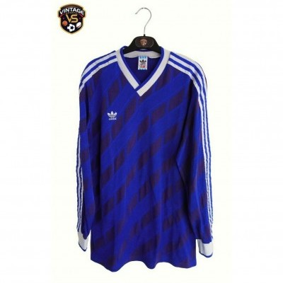 "Vintage Adidas Football Shirt Blue 1987 (L) ""Good"""