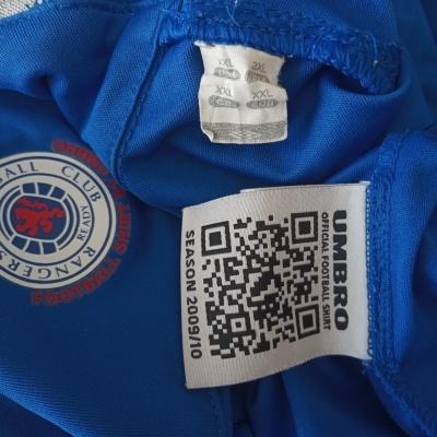 "Glasgow Rangers FC L/S Home Shirt 2009-2010 (XXL) ""Very Good"""