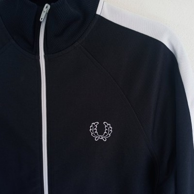 "Fred Perry Jacket Track Top Dark Brown White (L Youths) ""Very Good"""