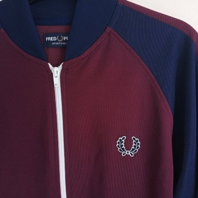 """Fred Perry Track Top Jacket Navy Blue Burgundy (M) """"Very Good"""""""