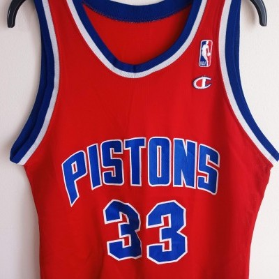"Vintage Detroit Pistons Shirt NBA #33 Hill (40) ""Very Good"""