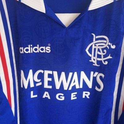 "Glasgow Rangers FC Home Shirt 1996-1997 (L) ""Very Good"""
