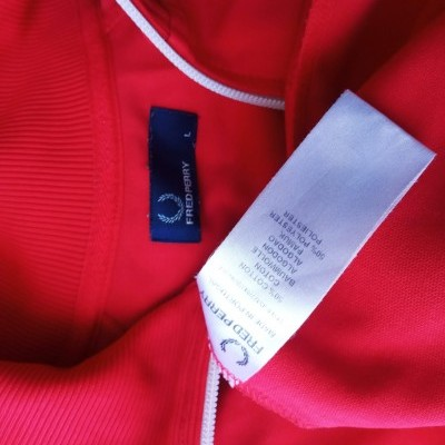 """Fred Perry Jacket Track Top Red White (L) """"Good"""""""