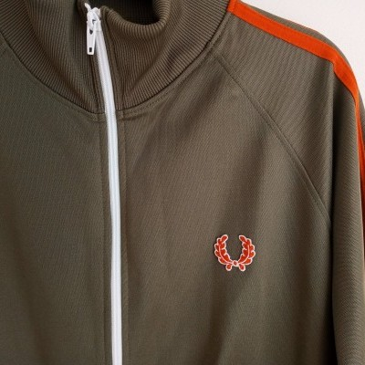 "Fred Perry Track Top Jacket Green Olive Orange (M) ""Very Good"""