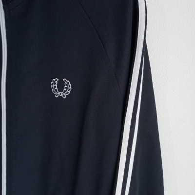 """Fred Perry Track Top Jacket Black White (M) """"Very Good"""""""