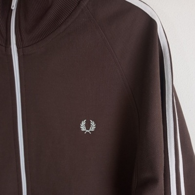 """Fred Perry Track Top Jacket Brown White (M) """"Very Good"""""""