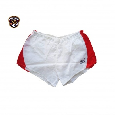 "Vintage Shorts Puma 1980s White Red (M - D6) ""Very Good"""
