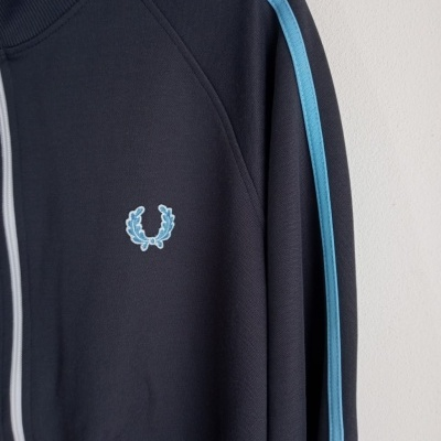 """Fred Perry Track Top Jacket Dark Grey Blue (M) """"Very Good"""""""
