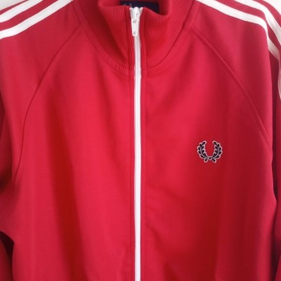 """Fred Perry Jacket Track Top Dark Red White (M) """"Very Good"""""""