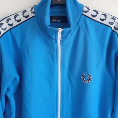 """Fred Perry Jacket Track Top Blue White (L Youths) """"Very Good"""""""