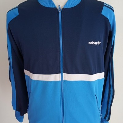 Vintage Track Top Adidas (M) Blue White Jacket