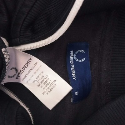 """Fred Perry Jacket Track Top Black White (M) """"Very Good"""""""