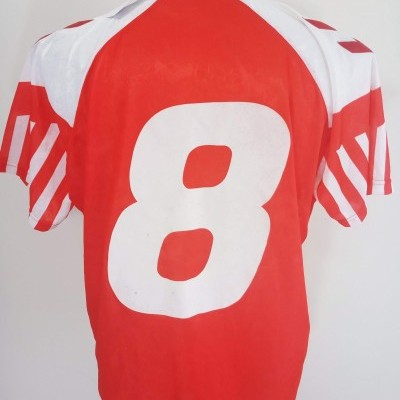"Matchworn ? Denmark Home Shirt 1992 (XL)#8 ""Very Good"""
