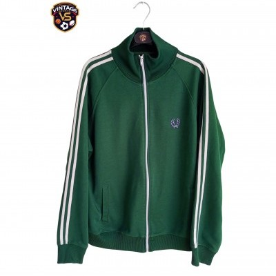 "Vintage Fred Perry Jacket Track Top Green White (L) ""Good"""