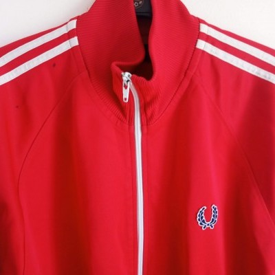 "Fred Perry Jacket Track Top Red White (L) ""Good"""
