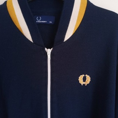 "Fred Perry Cardigan Zip Jumper Jacket Blue Wool (XXL) ""Very Good"""