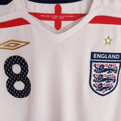 "England Home Shirt 2007-2009 #8 Lampard (L) ""Good"""