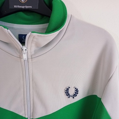 """Fred Perry Track Top Jacket Green White (L) """"Average"""""""