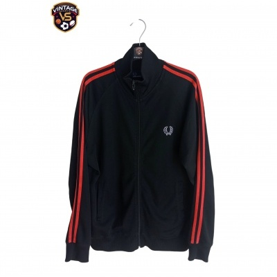 """Fred Perry Track Top Jacket Black Red (M) """"Very Good"""""""