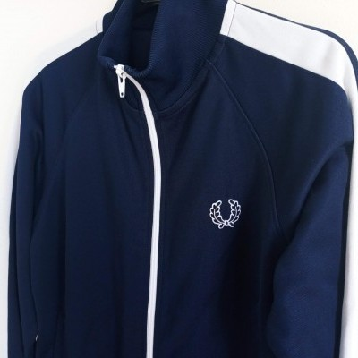"Fred Perry Jacket Track Top Blue White (L Youths) ""Good"""