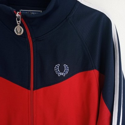 """Fred Perry Jacket Track Top Dark Red Blue (M) """"Good"""""""
