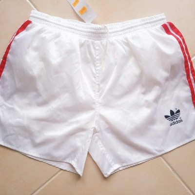 "Vintage Shorts Adidas 1990's White Red (M) ""Very Good"""