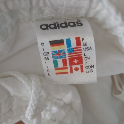 "Vintage Shorts Adidas 1990s White Blue (L) ""Very Good"""