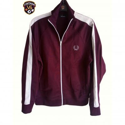 "Fred Perry Jacket Track Top Burgundy White (L Youths) ""Good"""