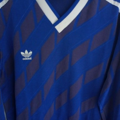 "Vintage Adidas Football Shirt Blue 1987 (L) ""Good"""