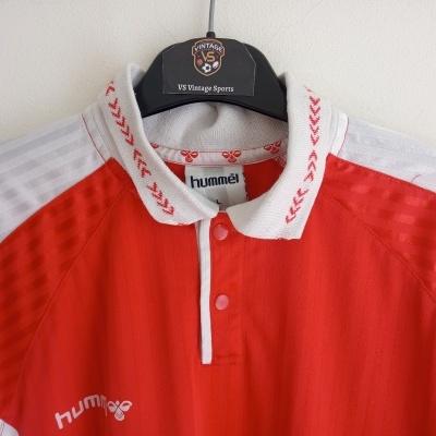 """Vintage Hummel Football Shirt Red White Denmark #15 (L) """"Good"""""""