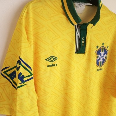 "Signed Brazil Home Shirt 1992-1994 (L) ""Very Good"""