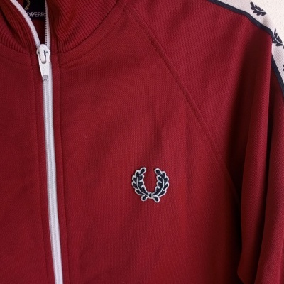 "Fred Perry Track Top Jacket Red White (M Youths) ""Very Good"""