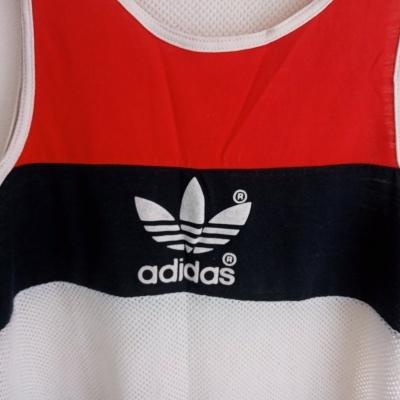 "Vintage Tank Vest Singlet Shirt Athletics Adidas White (M) ""Very Good"""