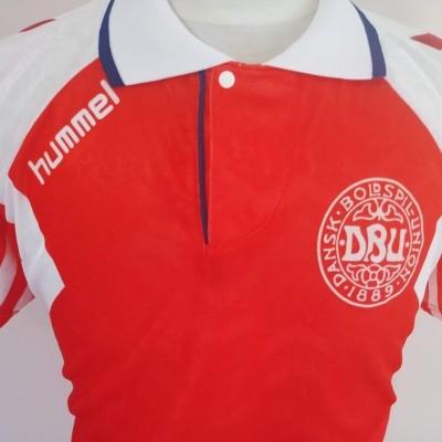 """Matchworn ? Denmark Home Shirt 1992 (XL)#8 """"Very Good"""""""