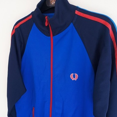 """Fred Perry Jacket Track Top Blue Red (L Youths) """"Good"""""""