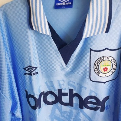 "Manchester City Home Shirt 1995-1997 (XL) ""Good"""