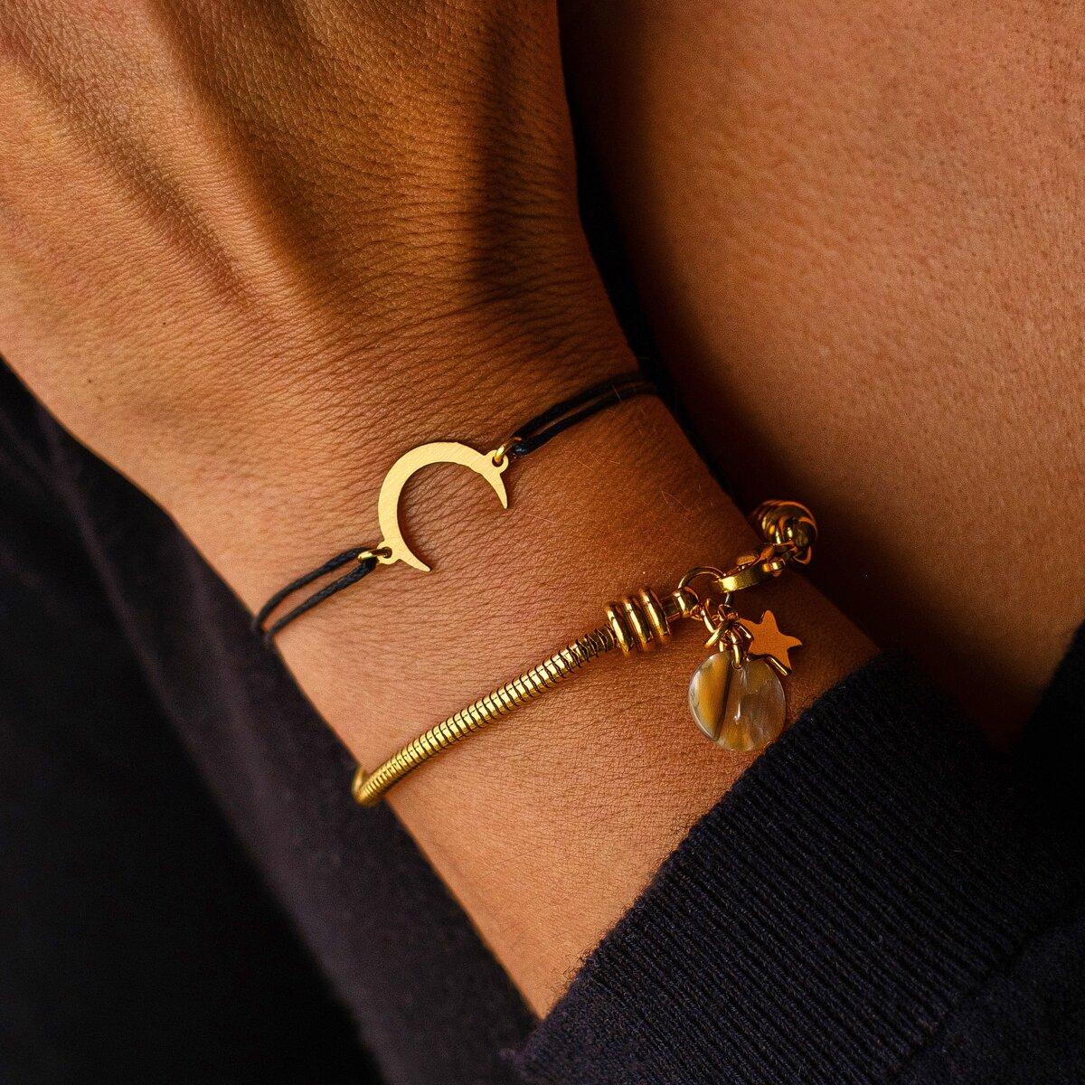 Pulseira Lua Dourada | Pulseira Snake Dourada (vendidas em separado)