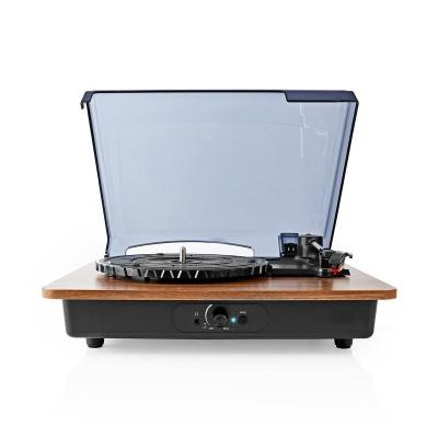 Nedis | Gira-Discos | 33/45/78 rpm | Correia de transmissão | 1x Stereo RCA | Bluetooth® | 9 W | (Pré) amplificador embutido | ABS / MDF | Preto amarronzado